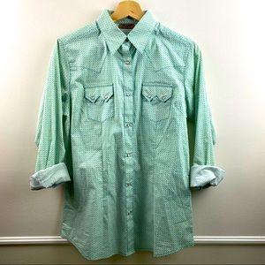 Wrangler patterned snap up long sleeved shirt